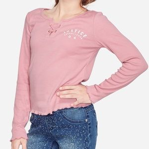 NWT Justice Ribbed Lace Up Long Sleeve Top 14/16
